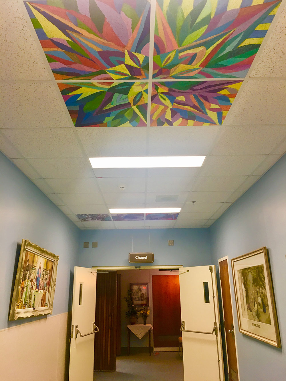Painted ceiling tiles installed at st pauls hospital dailygadgetfo Gallery